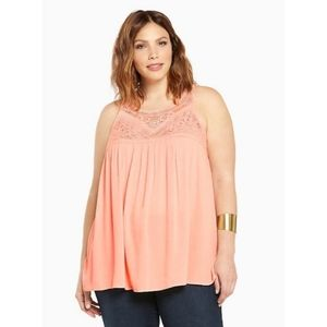 Torrid Crochet Peach Tank Too